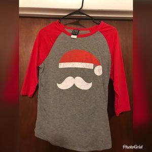 Santa mustache baseball tee
